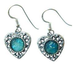 Roman Glass Heart Earrings 925 Sterling Silver by MichalDesigns