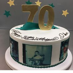 Photo cakes are about as personal as you can get. Love this 70th birthday cake by @sugarnspicebakeryndeli. See the best Edible Image Designs posted daily at http://topperoo.com/edible-image-designs/