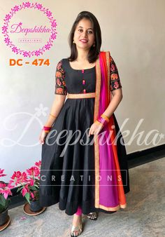 DC Beautiful black color floor length anarkali dress with pink and orange color net dupatta.For queries kindly WhatsApp : 91 9059683293 17 Janu Long Gown Dress, Frock Dress, Lehnga Dress, Long Frock, Kalamkari Dresses, Ikkat Dresses, Kurta Designs Women, Blouse Designs, Churidar Designs