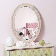 Oval Louis mirror, natural