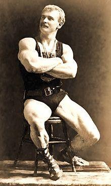 "Eugen Sandow (April 2, 1867 – October 14, 1925), born Friedrich Wilhelm Müller, was a Prussian pioneering bodybuilder known as the ""father of modern bodybuilding"". [Wikipedia]"