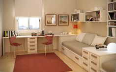 The Best Study Room Furniture to Make an Efficient Room: Outstanding Twin Kids Study Room With Excellent Ikea Furniture White Storage Beds And Cushions Two Person Desk Also Minimalist Task Chairs Along With Red Rug On Laminated Wood Floor Bookshelf Pictures Frame Blinds Window ~ workdon.com Furniture Inspiration
