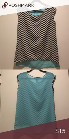 """Francesca's chevron top with blue back! Black and white Chevron top from Francesca's (specific brand is """"Buttons"""") with sheer light blue back. Really breezy, and cute for summer or spring outfits! Only worn once. Francesca's Collections Tops Blouses"""