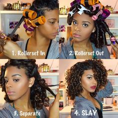 Creative ideas for amazing looking hair. Your hair is certainly exactly what can certainly define you as a person. To many people today it is definitely important to have a very good hair style. Roller Set Natural Hair, Natural Hair Tips, Natural Hair Journey, Natural Hair Styles, Roller Set Hairstyles, Black Girls Hairstyles, Braided Hairstyles, Curly Hair Styles, Transitioning Hairstyles