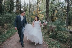 strolling through the woods wearing Sophia Tolli Jillian - Style Y21246 -  lace and tulle wedding dress with cap sleeves