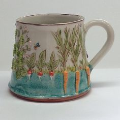 Growing the Veg' , Large sturdy mug As it is mugshot monday adonshifon click now to see more. Sgraffito, Pottery Mugs, Ceramic Pottery, Pottery Ideas, Ceramic Cups, Ceramic Art, Stars Disney, Coffee Cups, Tea Cups