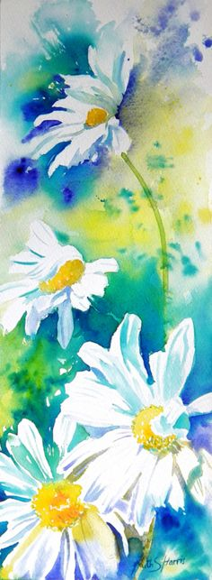 Watercolour daisies - love the turquoise background.