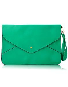 Green Vintage Leather Envelope Clutch Bag.