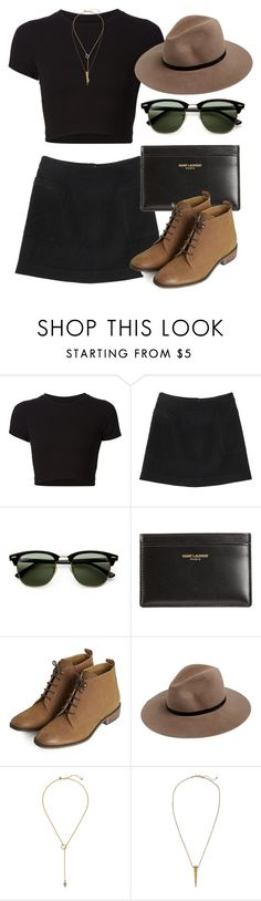 """""""Untitled #5657"""" by laurenmboot ❤ liked on Polyvore featuring Getting Back To Square One, Monki, Ray-Ban, Yves Saint Laurent, Topshop, rag & bone, Zimmermann and H&M"""