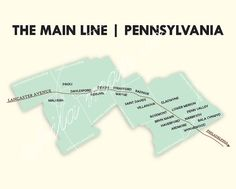Main Line Philadelphia Map by PhilaMapCo. The main line of the Pennsylvania Railroad. Penn Valley, The Philadelphia Story, Unique Maps, Delaware County, Pennsylvania Railroad, Thing 1, Need A Vacation, Line, Digital Prints