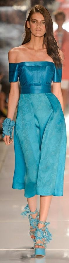 Colcci Spring Turquoise Off the Shoulder Midi Dress...2015 RTW