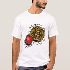Lion Holding Cricket Ball Breaking Background T-Shirt  #legging #cooking #receipe cricket coaching, cricket quotes, cricket logo Cricket Logo, Cricket Sport, Cricket Quotes, Cricket Coaching, Angry Animals, Lion, Cooking, Sports, Mens Tops
