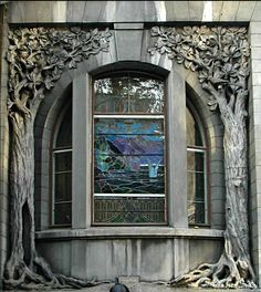 Poland ~ Window in the Kindermann's Villa - the ornate former residence of industrialist Leopold Rudolf Kindermann. Built in 1903, a fine example of Art-Nouveau style architecture.