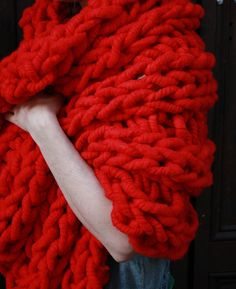 28'' x 40'' Red Chunky Knit Blanket or Wrap