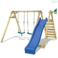 WICKEY Smart Dash wooden swing set with slide garden climbing frame for children Outdoor Toy Storage, Outdoor Toys, Natural Playground, Backyard Playground, Playground Toys, Garden Climbing Frames, Swing And Slide Set, Childrens Swings, Diy Swing