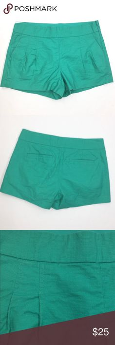 """J.Crew Teal Blue Short in Structured Cotton J. Crew  Size 4 Teal/Turquoise 98% Cotton, 2% Spandex Style 57806 Worn once -- in perfect shape!  PRODUCT DETAILS  In a clean side-zip design crafted from structured cotton, this pleated short creates a crisp look no matter how hot it is outside. Even better? The slightly flared silhouette, which our designers swear by for creating the illusion of a slimmer leg.   Favorite fit—our higher rise.  Cotton.  Sits below waist.  3"""" inseam.  Side zip…"""