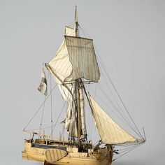 Model of a gaff-rigged gunboat, anonymous, 1835 - Rijksmuseum