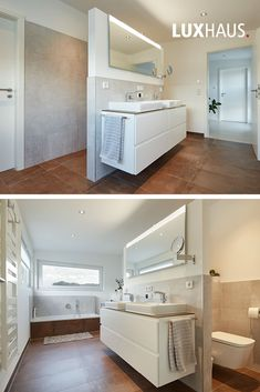 Badezimmerideen Natural tones prevail in the interior, which, clearly structured, form a stylish wor Bad Inspiration, Bathroom Inspiration, Master Bathroom, Home Furnishings, Sweet Home, New Homes, Bathtub, Home Appliances, Cabinet