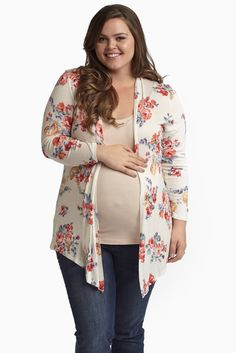 Lightweight, breezy, and beautiful are only a few words to describe this gorgeous floral print maternity cardigan.