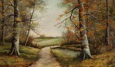 Geraldine Smith, American (b. 1947), Autumn Landscape with path and creek, oil on board, 12 x 20 inches