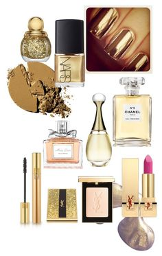 """""""Covered in gold"""" by andrea-levander on Polyvore featuring beauty, NARS Cosmetics, Chanel, Christian Dior and Yves Saint Laurent"""