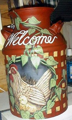 painted milk can images | hand painted milk cans