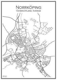 Norrköping. Sweden. Map. City print. Print. Affisch. Tavla. Tryck.