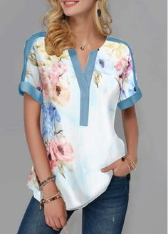 Split Neck Curved Hem Flower Print Blouse Women Clothes For Cheap, Collections, Styles Perfectly Fit You, Never Miss It! Trendy Tops For Women, Blouses For Women, Black Party Tops, Red Flannel Shirt, Printed Blouse, Red Blouses, Clothes, Tops Online, Shirts Online