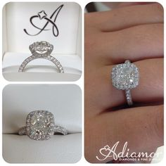 A new addition is our crescent halo 3 row micro pave setting. This version is set with a cushion cut center stone. A new addition is our crescent halo 3 row micro pave setting. This version is set with a cushion cut center stone. Dream Engagement Rings, Wedding Engagement, Wedding Bands, Solitaire Engagement, Ring Verlobung, Dream Ring, Diamond Are A Girls Best Friend, Modern Jewelry, Beautiful Rings