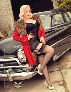Pinup Girl with Classic Car