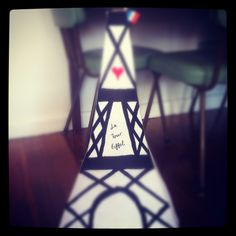 Homemade pinata of the eiffel tower