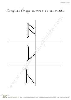 Dans les fiches de travail « Motifs image en miroir » l'élève doit dessiner l'image en miroir de chaque motif pour la compléter.