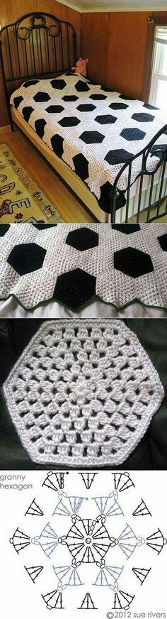 Granny hexagon square blanket