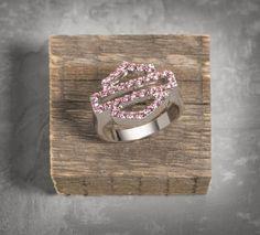 Women's Pink Label Bar & Shield Logo Ring#HDNaughtyList