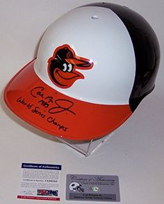 Cal Ripken Jr Autographed Hand Signed Baltimore Orioles No Ear Flap Full Size Authentic Baseball Batting Helmet - with 1983 World Series Champs Inscription - PSA/DNA ** Read more reviews of the product by visiting the link on the image.