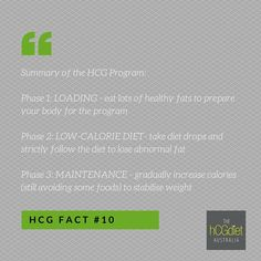 Our hcg program is really simple, and the results can be incredible and transformational. Phase 1 - Loading (eat lots of good fats to prepare) Phase 2 - Low-Calorie Diet (lose the abnormal fat) Phase 3 - Maintenance (stabilise your new weight)