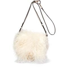 Diane von Furstenberg Love Power shearling and textured-leather... (392 AUD) ❤ liked on Polyvore featuring bags, handbags, shoulder bags, cream, cream handbags, white crossbody purse, shoulder strap handbags, strap purse and white cross body purse