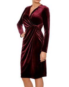 Camilla Bordeaux Dress | Red Silky Velvet Winter Cocktail Dress