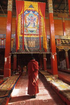 Tibetan Buddhist monk in a monastery