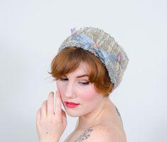 1920s vintage hat / boudoir cap / Rosette by PoppycockVintage on Etsy https://www.etsy.com/listing/234225222/1920s-vintage-hat-boudoir-cap-rosette