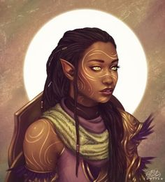 Art featuring elves, our pointy-eared fantasy friends. Black Characters, Dnd Characters, Fantasy Characters, Female Characters, Fictional Characters, Black Girl Art, Black Women Art, Art Girl, Black Art