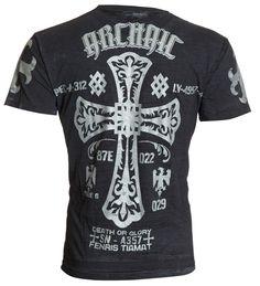 Archaic AFFLICTION Mens T-Shirt COLD ACID Cross Fight Tattoo Biker UFC M-4XL $40 #Affliction #GraphicTee