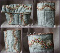 Embroidered Bag Felt Embroidery, Silk Ribbon Embroidery, Rosalie, Embroidered Bag, Beaded Purses, Quilted Bag, Handmade Bags, Couture, Needlework