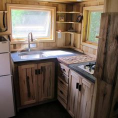 Tiny House Kitchen - small kitchen inside, beautiful outdoor kitchen for communal use but also for ourselves.