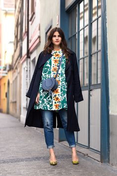 floral print dress with jeans