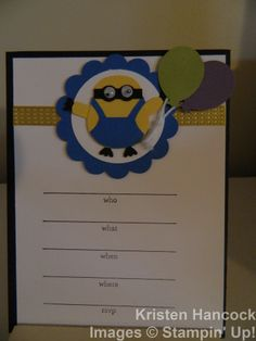 Stampin' Up! Birthday Invitation Despicable Me minion with the owl punch.