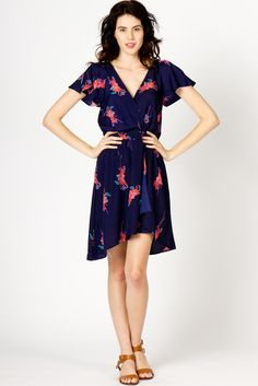 Big Floral Surplice Dress