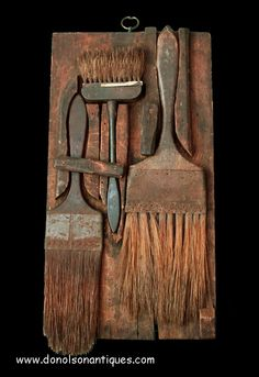 Remarkable two-sided 19th century painter's brush caddie.