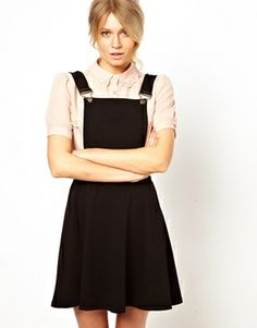 ASOS Pinafore Dress - wear with t shirt and your ankle boots cute and young but stylish and appropriate - layer your parka over
