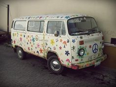 We decorated our VW bus with flowers and peace signs.  So fun!